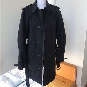 Kenneth Cole Black Rain Trench coat jacket w belt